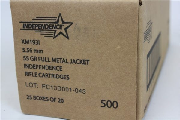Independence 5.56 Nato 55GR FMJ 500 Rounds