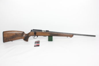 Anschutz 1727 F Walnut German Stock 22LR Biathlon Action